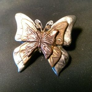Jewelry - Copper on Pewter Butterfly Pin ?